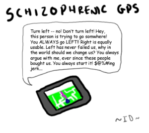 Schizophrenic GPS by Incessant Doodling on deviantart.com